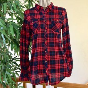 NWT Passport Plaid Button Up Top Size Large